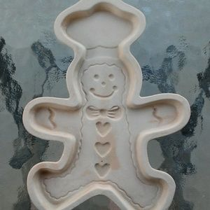 Large Gingerbread Man Ceramic Shortbread Mold EUC